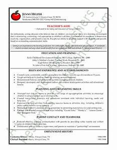teacher39s aide or assistant resume sample or cv example With cv education example