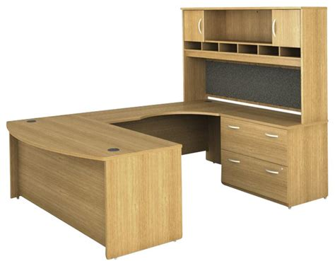 light oak computer desk bush series c 4 piece u shape right hand computer desk in