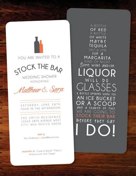 what is a stock the bar shower stock the bar invitations set of 60 invitation set and bar