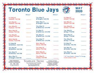 printable  toronto blue jays schedule