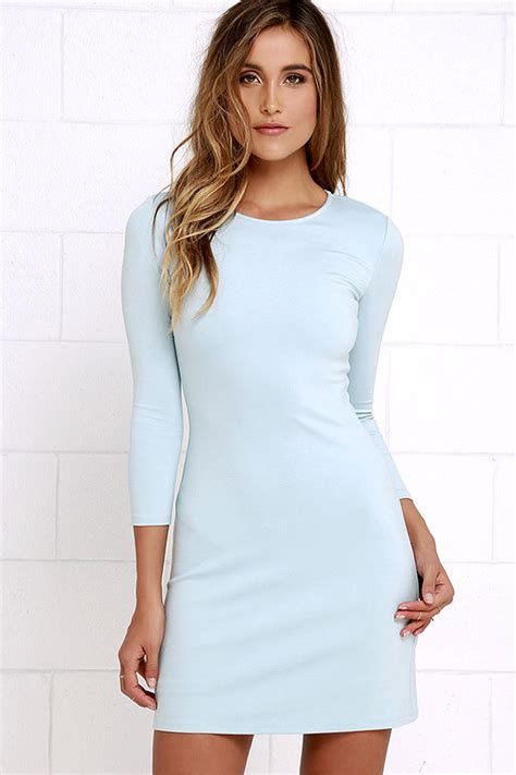Classic Light Blue Dress - Long Sleeve Dress - A-Line Dress - $48.00