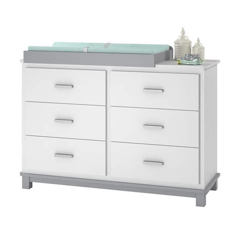 6 Drawer Dresser Changing Table In White And Gray 5925321com