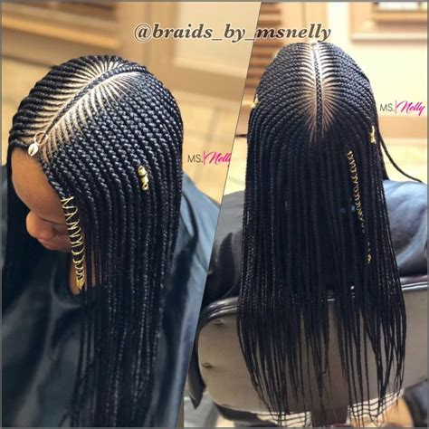 75+ 3 Layer Feed In Braids Middle Part