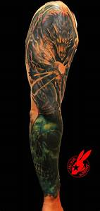 Dragon and Skull Sleeve Tattoo by Jackie Rabbit by ...