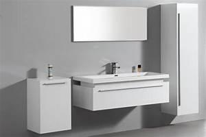 Meuble Bas Blanc Laqué : meuble bas salle de bain laque blanc ~ Edinachiropracticcenter.com Idées de Décoration