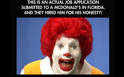 actual job application submitted   mcdonalds  florida