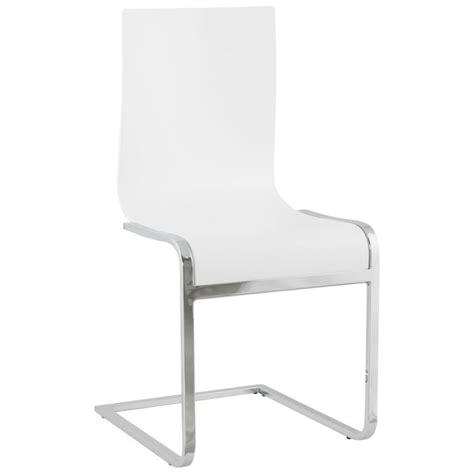 chaise en bois blanc chaise moderne durance en bois et métal chromé blanc