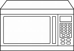 Microwave Oven Line Art - Free Clip Art