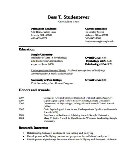 Formal Resume Template by 12 Formal Curriculum Vitae Free Sle Exle Format