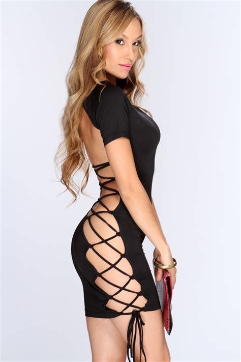Black Crisscross Accent Sexy Clubwear Dress