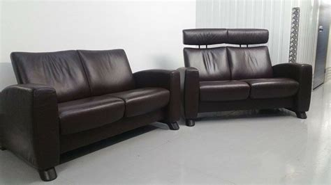 Recliner Settees by Ekornes Stressless 2 X 2 Seater Leather Recliner Settee
