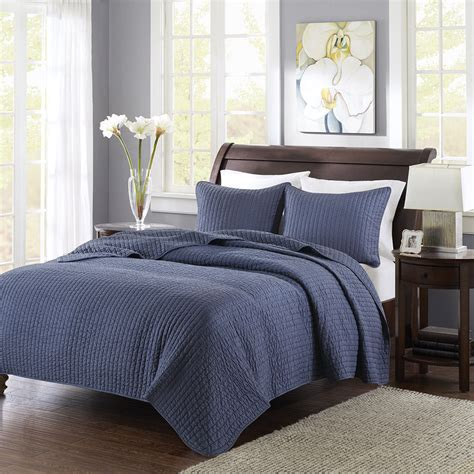 Navy Blue Bedspreads And Coverlets by Soft Cozy Modern Solid Navy Blue Striped Stripe Coverlet