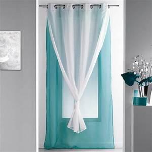 Rideau Double Voilage : voilage 140 x h240 cm bicolore double bleu voilage eminza ~ Teatrodelosmanantiales.com Idées de Décoration
