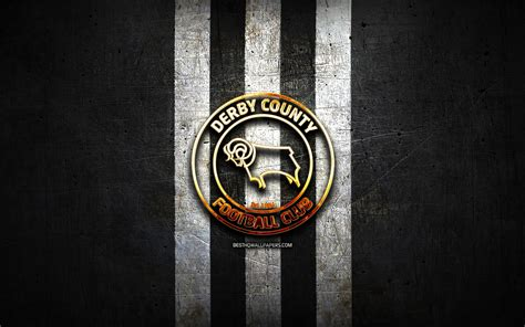 Download wallpapers Derby County FC, golden logo, EFL ...