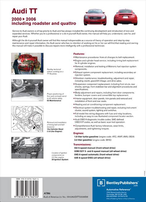 how to download repair manuals 2011 audi tt electronic throttle control back cover audi audi repair manual tt 2000 2006 bentley publishers repair manuals and