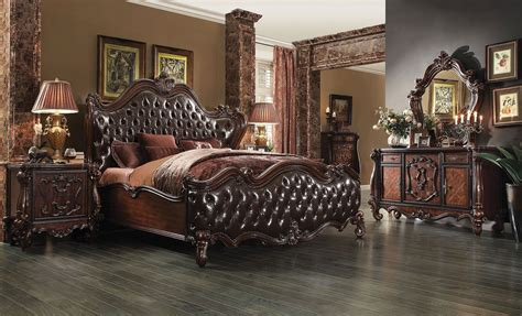 versailles 2 tone brown bed cheery oak