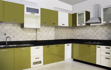 modular kitchen design ideas with l shape cabinets and white green lime colors gloss