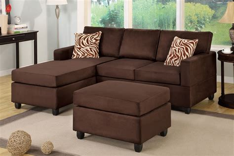 brown sectional with ottoman all in one microfiber plush sectional sofa with ottoman