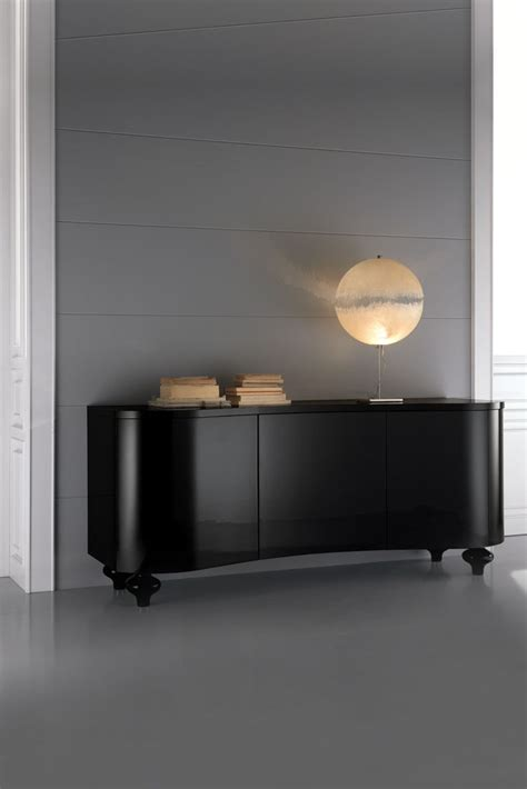 high  designer italian black buffet sideboard chest