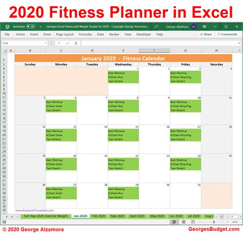 excel exercise tracker weight loss tracker  year