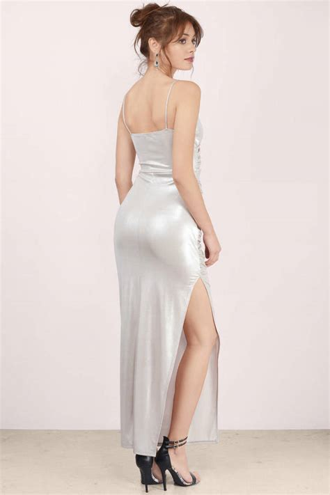 sexy silver maxi dress silver dress draped dress