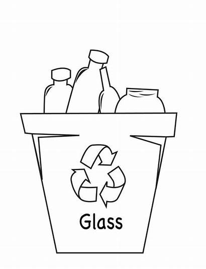 Coloring Recycle Glass Pages Recycling Drawing Recycled