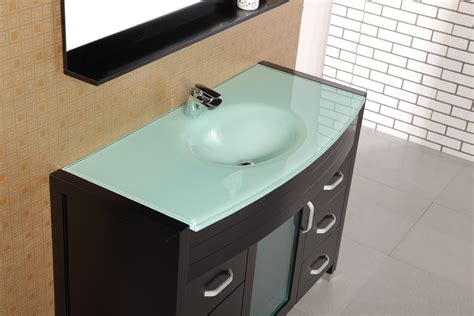 Black Wooden Vanity With Drawers Plus Blue Counter Top And