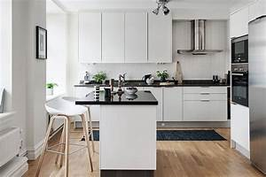 black and white themed scandinavian apartment with modern With best brand of paint for kitchen cabinets with construction themed wall art