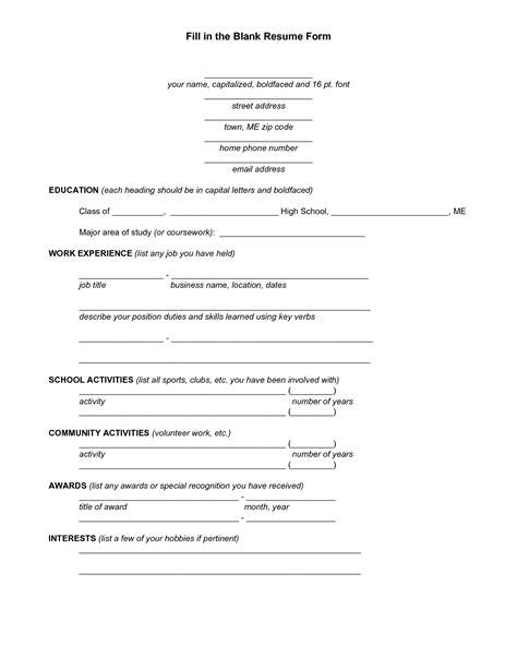 Pin by Joann Salomon on my files   Student resume template, Resume form, Free printable resume