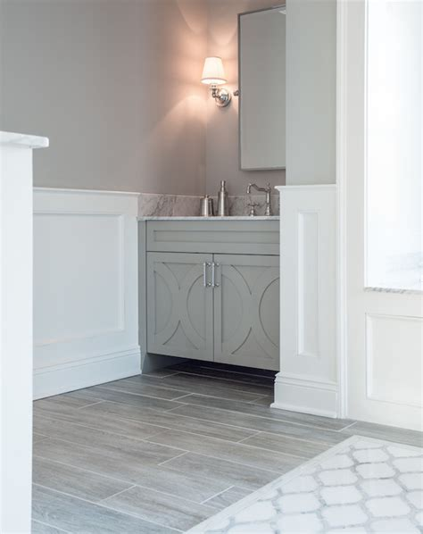 bathroom with porcelain wood tiles transitional