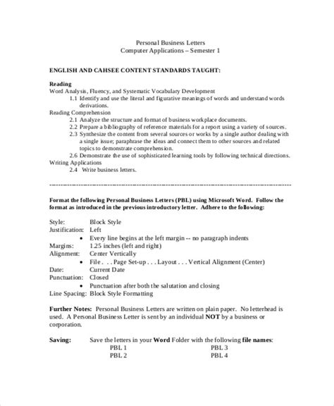 personal business letter 7 sle professional business letters sle templates 25464