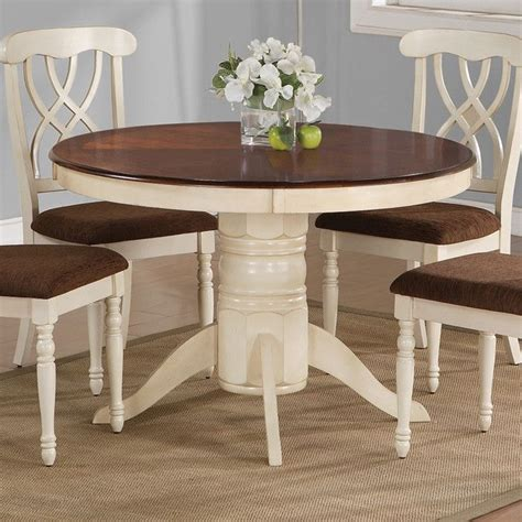 painting kitchen table and chairs different colors i like the cream colored legs and the brown stained table