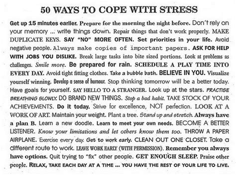 50 Ways To Cope With Stress Chart Griefandmourningcom