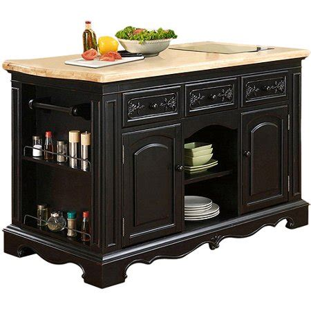 Powell Pennfield Kitchen Island, Black And Natural