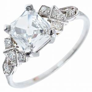 vintage square cut engagement rings wedding promise With wedding rings square cut diamond