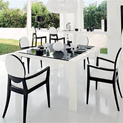 black and white dinner table setting furniture minimalist dining room decoration ideas with
