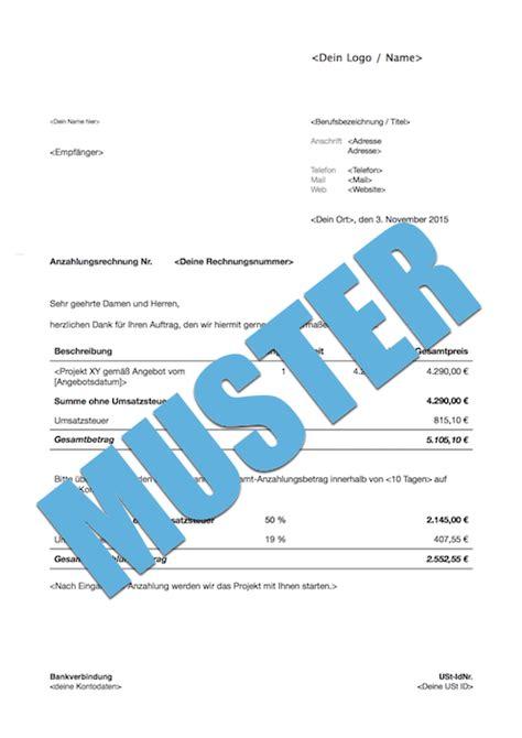 rechnung anzahlung anzahlungsrechnung inland muster zum