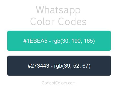whatsapp color whatsapp colors hex and rgb color codes