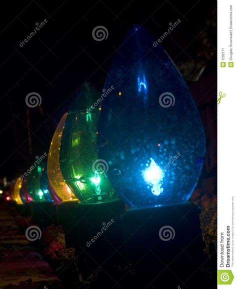row of oversized outdoor christmas lights stock image