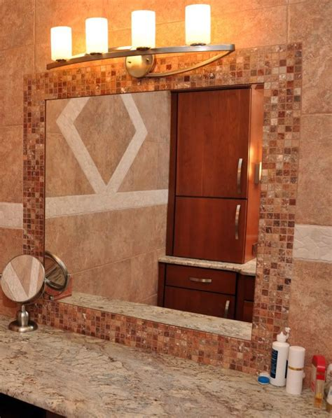 Tile Bathroom Mirror Frame by 31 Ideas Of Using Mosaic Tile Around Bathroom Mirror
