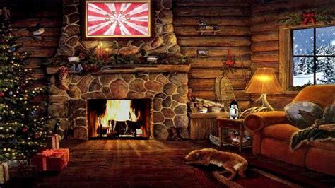 christmas cottage  yule log fireplace  snow scene