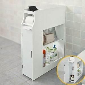 Meuble De Rangement Papier : meuble de rangement armoire wc pour papier toilette porte brosse wc avec porte revues blanc ~ Teatrodelosmanantiales.com Idées de Décoration