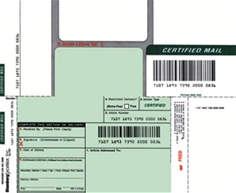 certified mail labels  barcode  article number