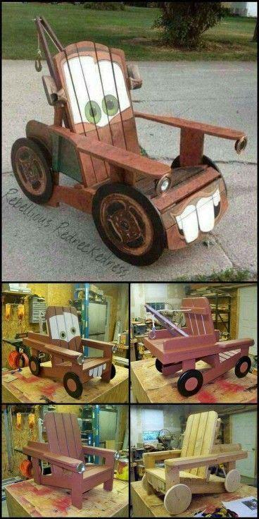 silla de mate cars piezas de madera