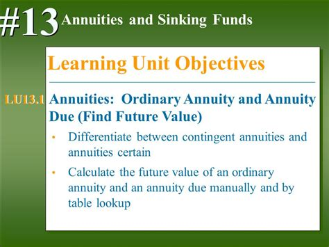 future value of annuity due table annuities and sinking funds ppt download