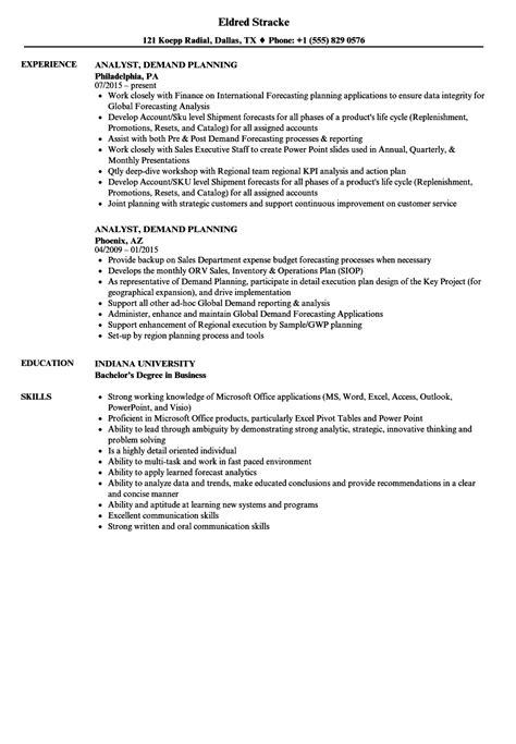 best demand planner resume sle gallery simple resume