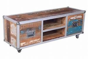Meuble Vintage Pas Cher : meuble tv sur roulettes platine design pas cher sur sofactory ~ Teatrodelosmanantiales.com Idées de Décoration