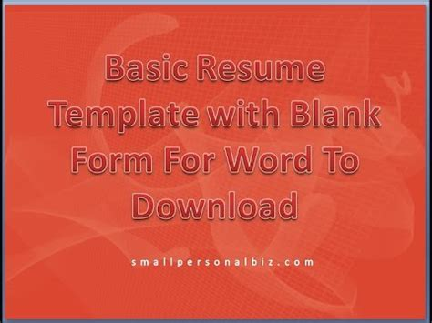 basic resume template  blank form  word