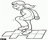 Hopscotch Coloring Pages Traditional Games Sports sketch template