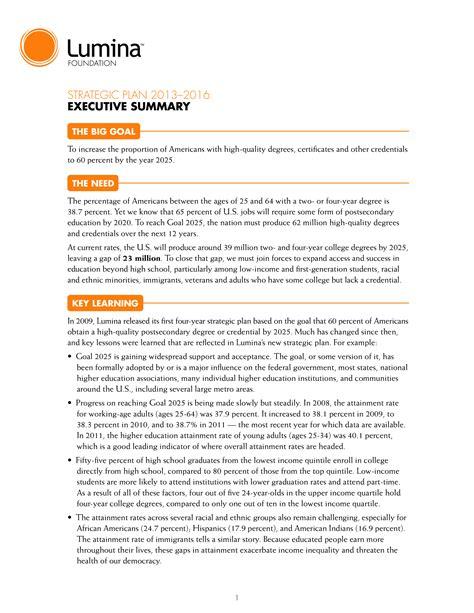 strategic plan executive summary sample